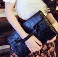 6 candy color quality leather knitted day clutch envelope bag 2013 fashion women shoulder bag,Lady Wooden Hand-weaved Handbag