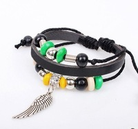 2013 New Cheap Punk Bracelet For Women Angle Wings Swag Pendant Leather Bracelet Adjustable Wristband Free Shipping HeHuanSLQ122