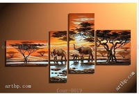 A Happy Family Fortune Tree 4 Pcs Set Wall Art In Africa Elephant Style Landscape Painting Morning Cloud Painting Free Shipping