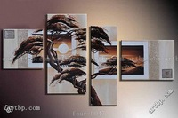 Oil Painting Hand Painted Free Shipping Art African Forest Sunrise Wall Decoration Abstract Landscape Oil On Canvas 4Pcs Set