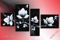 Oil Painting Hand Painted Free Shipping Wall Art Fly In Black White Flowers Home Decoration Landscape Oil On Canvas 4Pcs Set