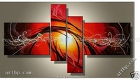 Oil Painting Hand Painted Free Shipping Dance Sun Bright Red Lines Abstract Landscape Wall Home Decor Oil On Canvas 4Pcs Set