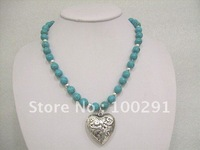 Free shipping!! 45cm Alloy of green of heart pendant  turquoise necklaces