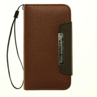 Lichee Pattern Leather Wallet Case Hard Holster Stand Cover for Samsung Galaxy S4 I9500 with magnet + hand strip
