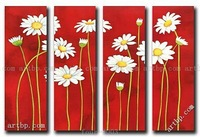 Handmade Flower Abstract Oil Painting White Chrysanthemum Canvas Art Set Home Decor Hotel Decorative Painting 4 Panel Wall Art