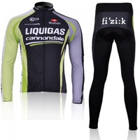 road sportswear men Liquigas  winter Warm Fleece Thermal  bike colthing long sleeve cycling bike bicycle cycling jersey +pants