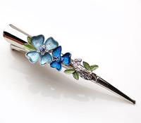 Four-leaf flower hair maker horn clip rhinestone hair maker vertical clip duckbill clip 366336
