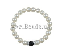 Free shipping!!!Freshwater Cultured Pearl Bracelet,Birthday Gift, with Tiekuang, 8mm, Length:7 Inch, 10Strands/Bag, Sold By Bag