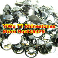 Free Shipping! 1440pcs/Lot, ss3 (1.3-1.5mm) Black Diamond Flat Back Non Hotfix Nail Art Rhinestones
