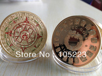 50pcs/lot DHL Free Shipping 1 OZ MINT MAYAN AZTEC GODS 24k .999 GOLD Clad COIN PROPHECY CALENDAR DOOMSDAY 2012