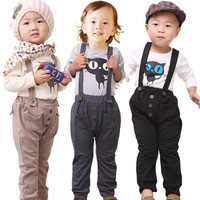 13 spring children's clothing male female child long-sleeve top bib pants trousers fashion cartoon baby soft set  free shipping!