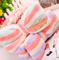 Bow tenfolds bath tenfolds cosmetic headband embroidery stripe bow tenfolds