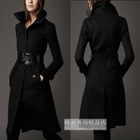 2012 women's fashion slim overcoat thick woolen outerwear turtleneck belt