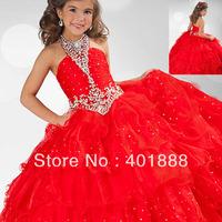 Red Kids Beautiful Model Ball Gown Latest Organza Fancy Flower Girl Dress