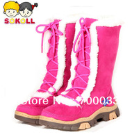 SoKoll Brand! High Quality Eco-friendly Girls Knee Boots Snow Winter Shoes Lace up