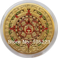New Design 25pcs/lot Free shipping wholesale 1 OZ  MAYAN AZTEC GODS 24k .999 GOLD clad COIN PROPHECY CALENDAR 2012