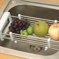Stainless steel sink drain basket retractable drain rack dish rack blue basket retractable bowl rack