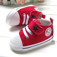 0 - 1 - 2 years old red five-star skateboarding shoes film infant toddler canvas small womanhood single shoes