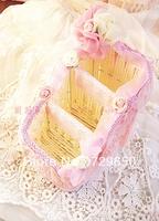 Three color roses remote basket basket remote blue lace cloth art receive basket