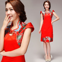 The bride red slit neckline bridal evening dress small evening dress cheongsam wedding short design 3111