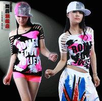 Female cutout doodle hiphop loose t-shirt hiphop hip-hop top jazz dance ds costume