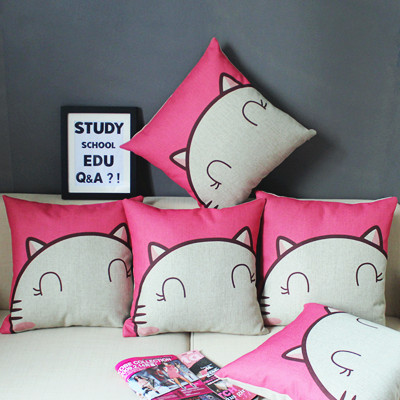 Wholesale Cartoon pink cat fluid office pillow cover/animal printed cushion cover/hello /kitty / decorative pillow covers ikea(China (Mainland))