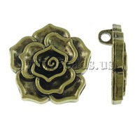 Free shipping!!!Zinc Alloy Flower Pendants,Statement, antique bronze color plated, nickel, lead & cadmium free, 37x6mm