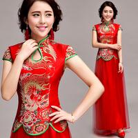 The bride red bridal evening dress wedding chinese style cheongsam evening dress short-sleeve long design  Free shipping