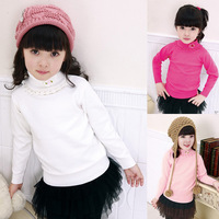 Children's clothing female child exquisite lace collar sweater all-match 100% basic sweater cotton sweater