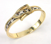 Free shipping gold plated leopard print glitter powder adjustable belt buckle bracelet bangle women dress bangle