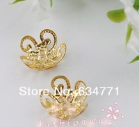 Hotl  ! 1000 Gold Plated Cute Five-leaf Flower Shape Bead Cap 1( k0132)