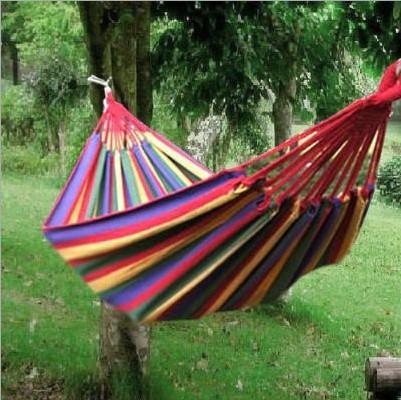 Free shipping thick canvas 190*80cm colorful hammock Single hammock camping picnic tourism Outdoor hammock beach(China (Mainland))