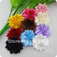 Pick 100pc satin ribbon flowers appliques wedding sewing DIYcraft decoration A022