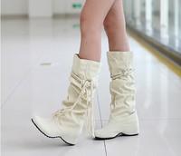 winter spring autumn women shoes single flat elevator tall warm fur boot