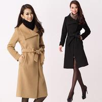 2013 autumn and winter fashion wool coat medium-long turn-down collar women slim woolen plus size outerwear free shipping