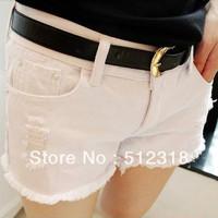 Korean women shorts jeans shorts tide burr hole was thin overalls pants shorts shorts female street bell-bottomed pants