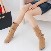 2014 female spring and autumn thick heel yellow Mid calf round toe women's boots