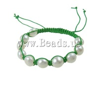 Free shipping!!!Freshwater Pearl Shamballa Bracelets,Lucky, handmade, 9-10mm, Length:7 Inch, 10Strands/Bag, Sold By Bag