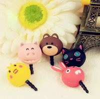 Free Shipping 2013 new ks kawaii cartoon animal Anti dust plug for cell phone/kpop cute anime headphones cap