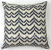 Wholesale! Free shipping Durk blue Wave Pattern Retro Vintage Linen Decorative Pillow Case Pillow Cover  45CM*45CM