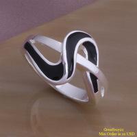 925-RG152 Free Shipping 925 Silver Black Wave Rings for women Wedding Accessories Birthday Gifts Engagement Jewelry