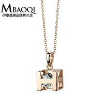 76629 High Quality Gift Jewelry 18K Gold Plated Fashion Austria Crystal H Short Necklace for Ladies