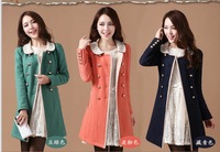 Autumn New Fashion 2014 Women Slim Double Breasted Beading Round Collar Woolen Coat A404
