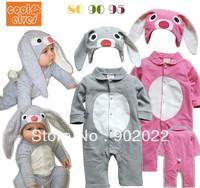 Free Shipping Children Wear infant Kid's cool elver long sleeve hooded rabbit design Baby Romper