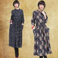 2013 autumn women's rustic long-sleeve slim high waist medium-long one-piece dress