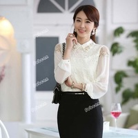 2013 Autumn Polo Collar Design Lady Lace Shirt Size S-3XL Korean Fashion Long-Sleeve Women Chiffon Blouse Free Shipping D1329