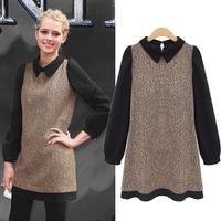 Fashion plus size clothing turn-down collar long-sleeve quality woolen dress fashion brief one-piece dress