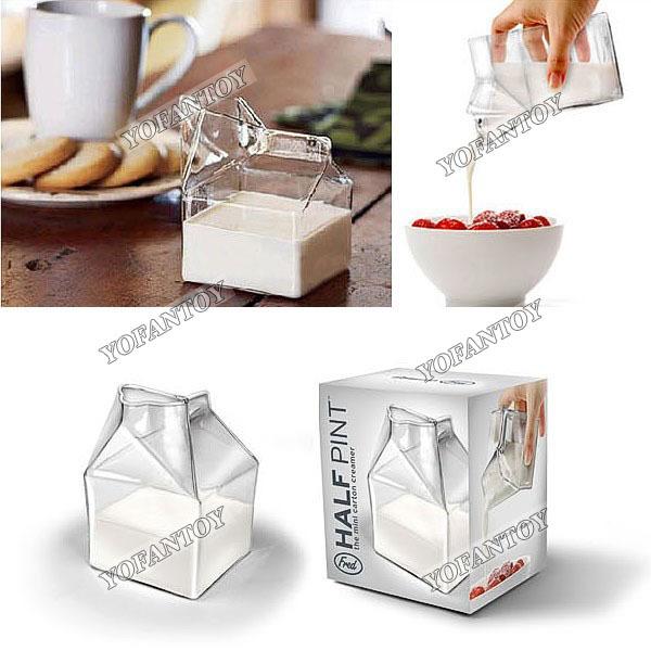 Free Shipping Half Pint Carton Style Creative Mini Creamer Jug Glass Food Safe Drinking Ware Cup Glassware for Kitchen(China (Mainland))
