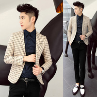 2013 autumn modern slim blazer men's clothing all-match plaid male civies blazer single male