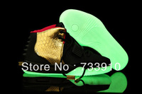 Free Shipping Famous Trainers Air Yeezy 2 Rerto Glow in the Dark Black Gold Red Men's Basketball Shoes,Fashion Trend Shoes